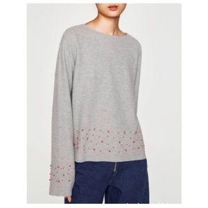 Zara Women's sweater with pearls (NWT)